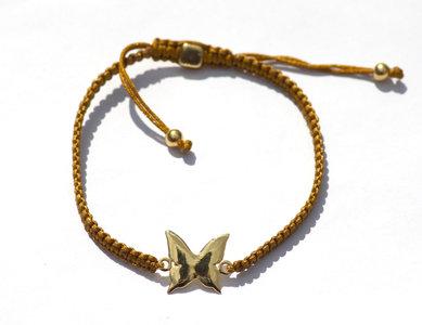 Goud zijde armbandje met Gold plated Vlinder