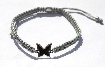 Steel grey zijde armbandje met zilveren Vlinder