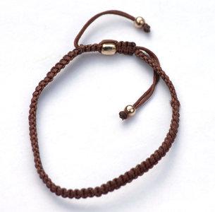 Brown zijde armbandje Natrual met rosegold plated