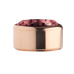 Dark Red Rose Gold Stainless Steel CZ Zetting Opschroef MelanO