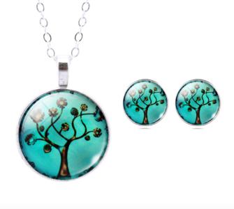 Levensboom Set: Pendant & Oorstekers Turquoise