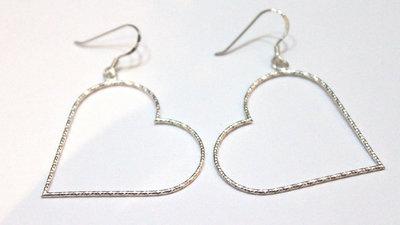 Zilveren Oorhangers Hearts 027