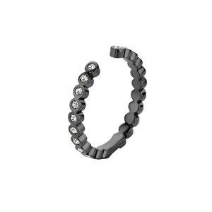 Tina Twisted MelanO Ring Black / Chrystal Zirkonia