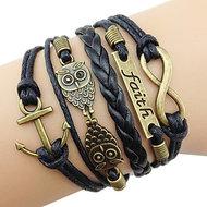 Infinity Owl Faith Copper Black Armbandje