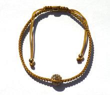 Goud zijde armbandje Shambala 1 ball Zilver 925 Gold plated