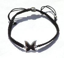 Black zijde armbandje met zilveren Vlinder