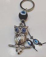 Gelukssleutelhanger Uil met blauwe glazen 'boze oog' kralen