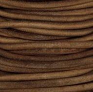 3mm Rond Licht bruin leder mm-409