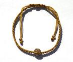Goud-zijde-armbandje-Shambala-1-ball-Zilver-925-Gold-plated