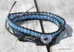 Malay-Jade-blauw-Leren-Wikkelarmband