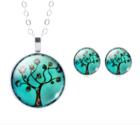 Levensboom-Set:-Pendant-&-Oorstekers-Turquoise